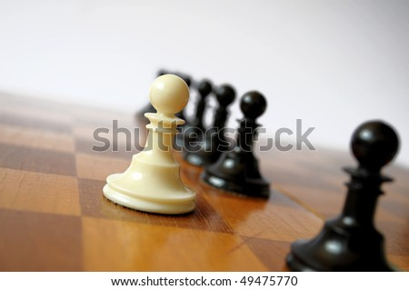 White Pawn Chess Row. Business Leader Concept.