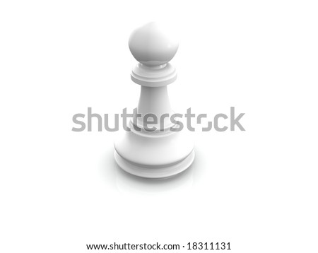 white pawn. 3d - stock photo