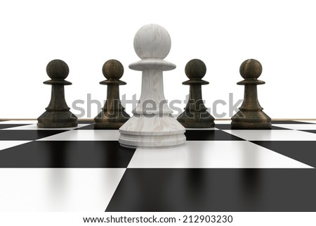 White pawn in front of black pawns on white background - stock photo