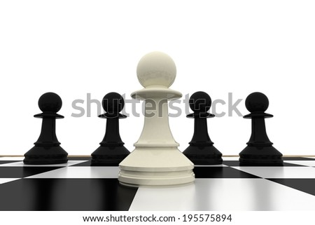 White pawn standing with black pawns on white background