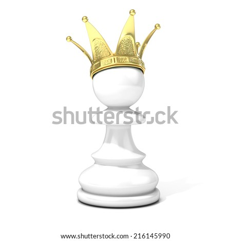 White pawn with a golden crown, isolated on a white background  - stock photo
