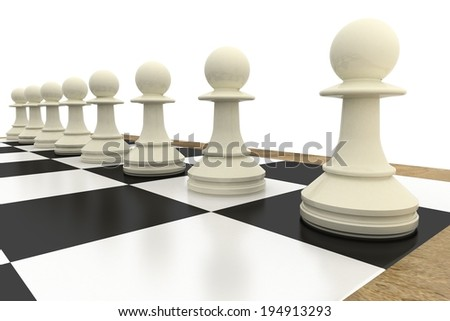 White pawns on chess board on white background