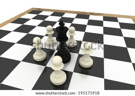 White pawns surrounding black king on white background