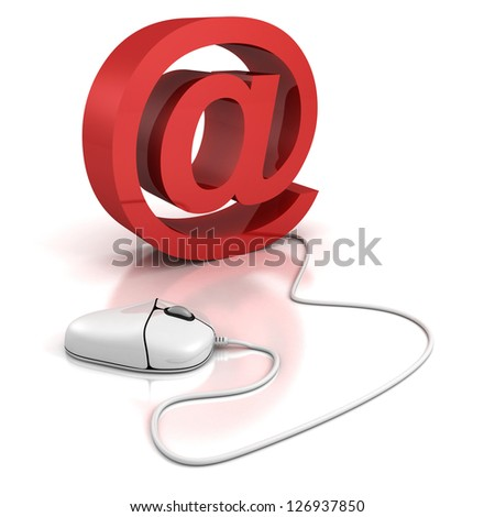 white pc mouse and red internet sign - stock photo