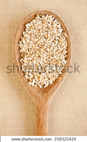 White pearled barley groats, coarsely grains portion on wooden spoon closeup, healthy raw food heap in day light, vertical orientation, nobody. - stock photo