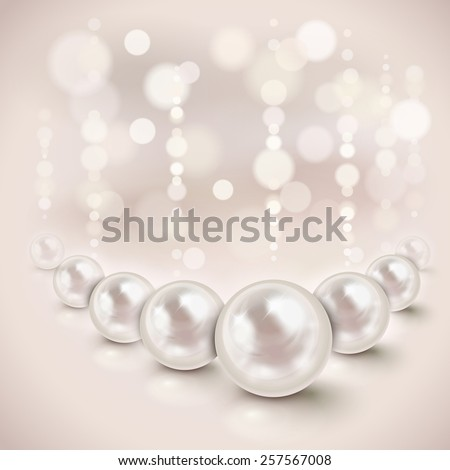 White pearls shiny background with light effects - stock photo