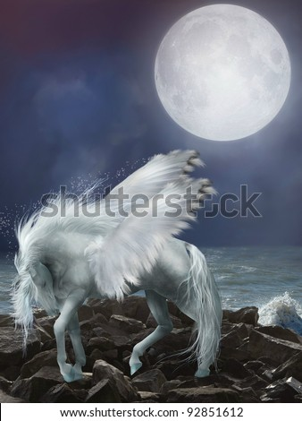 white pegasus in the stones with waves - stock photo