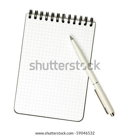 White pen on notepad. Isolated on white background - stock photo