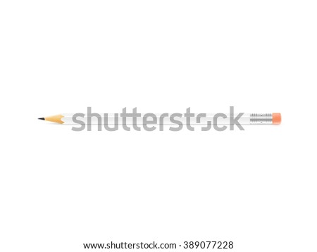 White pencil mockup lies on isolated background. School pen design mock up. Pencil style blank. Horizontal pencil with eraser. Plain wooden pencil. Wood pencil clear display. - stock photo