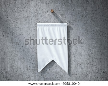 White pennant hanging on a concrete wall. 3d rendering
