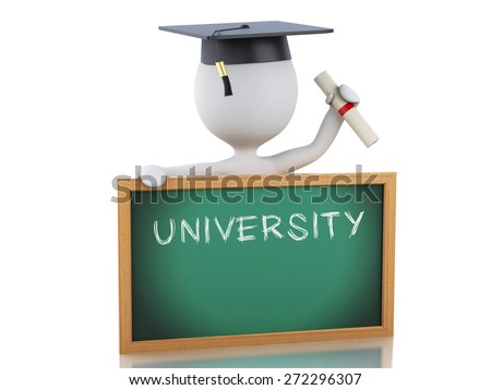 White people graduate with diploma, Graduation cap and blackboard. Isolated white background. 3d renderer illustration.