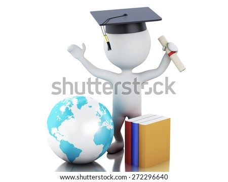 White people graduate with diploma, Graduation cap, earth globe and books. Isolated white background. 3d renderer illustration.  - stock photo