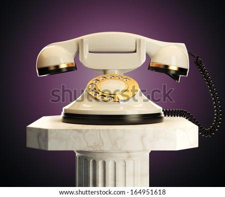 white phone on dark background - stock photo