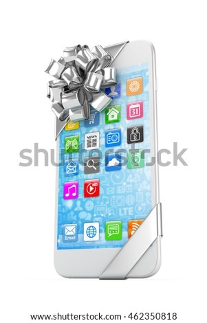 White phone with silver bow and icons. 3D rendering.