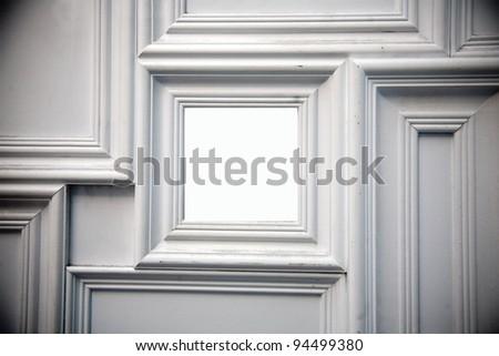 White photo frame on the wall - stock photo