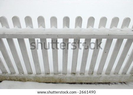 White picket fence in snow