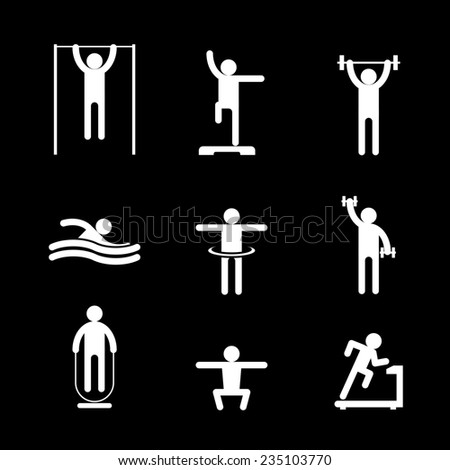 White pictogram silhouettes of people involved in sports on black background. Running, swimming and athletics - stock photo