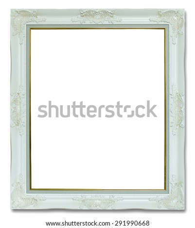 white picture frame isolated on white background - stock photo