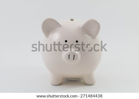 White piggy bank isolated on a white background - stock photo