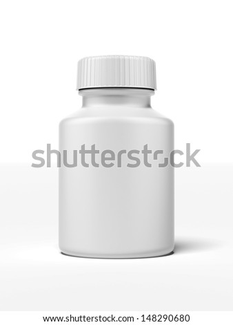 white pill bottle - stock photo