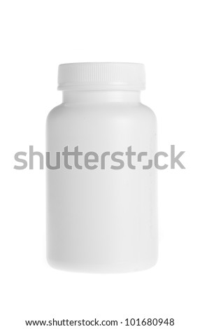 white pill bottle on white background - stock photo