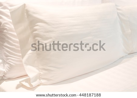 White Pillow in Bedroom Minimal Clean Decorative Comfortable Home - stock photo