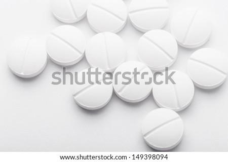 White pills - stock photo