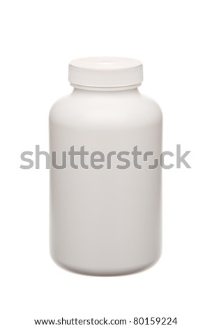 white pills container isolated on white - stock photo