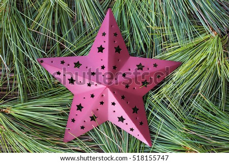 White pine tree boughs background for seasonal Christmas with a red metal star ornament.