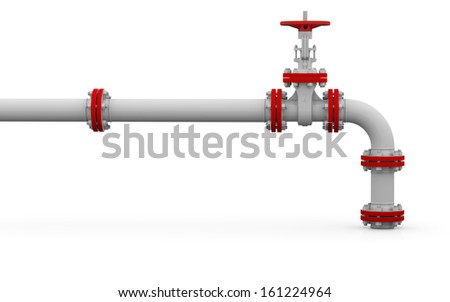 White pipe and valve. Isolated render on a white background - stock photo