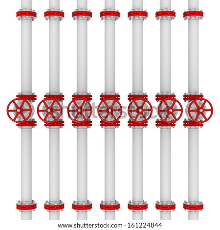 White pipes and valves. Isolated render on a white background - stock photo