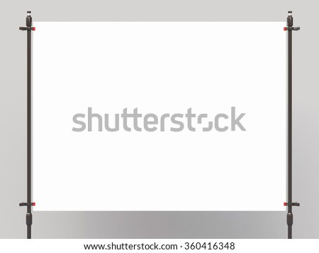 white placard sandwiched metal clasps - stock photo