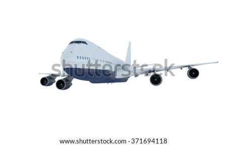 White plane flying. jumbo jet passenger  boeing 747 isolate on white background - stock photo