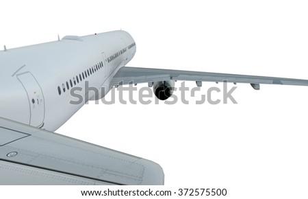 White plane flying. passenger airplane airbus a321 isolate on white background. - stock photo