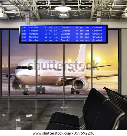 white plane in airport at non flying weather - stock photo
