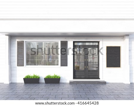 White plank cafe exterior with blank chalkboard. 3D Rendering - stock photo