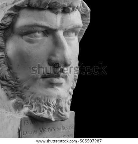 White plaster bust, sculptural portrait of Lucius Verus