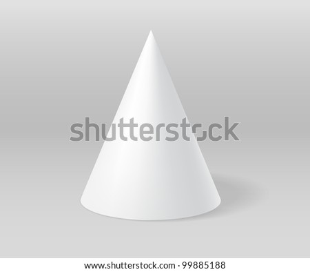 White plaster cone on grey scene - stock photo