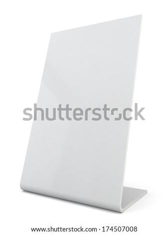 White plastic ad plate. 3d illustration on white background  - stock photo