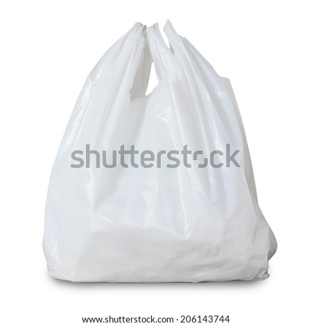 White Plastic Bag Isolated On White Background  - stock photo