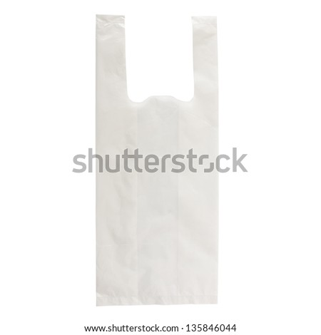 White Plastic Bag Isolated On White Background with Clipping Path - stock photo