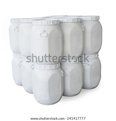 White plastic barrels containing chemicals (with clipping path)
