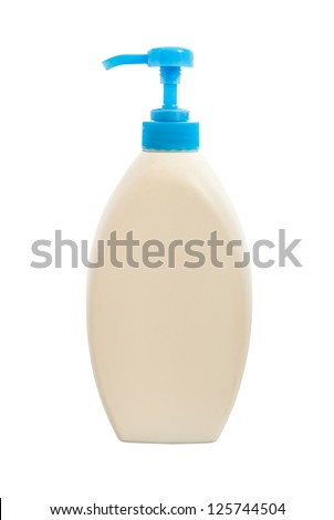 white plastic bottle isolated with clipping path - stock photo