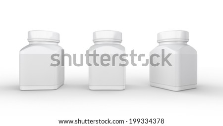 White plastic bottle packaging with clipping path for medical and health care product.  - stock photo