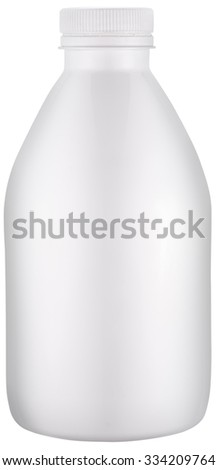 White plastic bottle with cap. File contains clipping paths. - stock photo