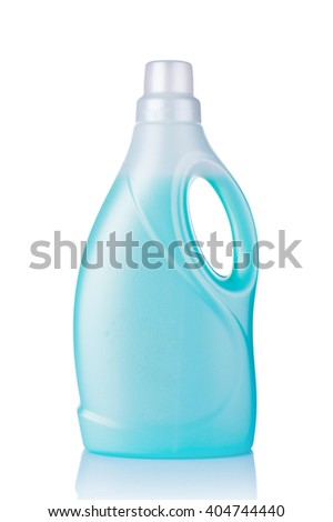 White plastic bottle with detergent isolated on white background. Conditioner for linen