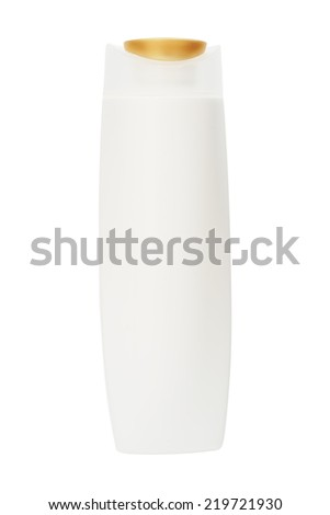 white plastic bottle with gold flip top lid for cosmetic on white background