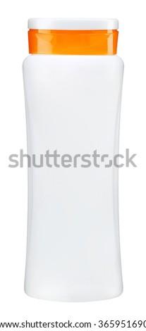 White plastic bottle with orange cap for shampoo - isolated on white background - stock photo