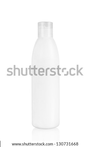 White plastic bottle with spray on white background - stock photo