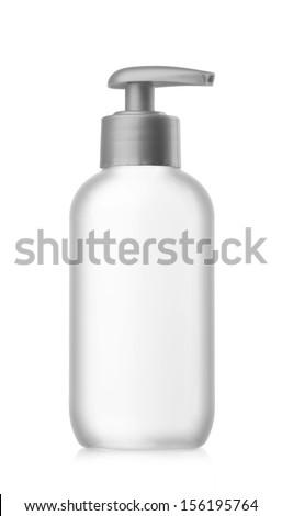 White plastic bottle with spray on white background. - stock photo